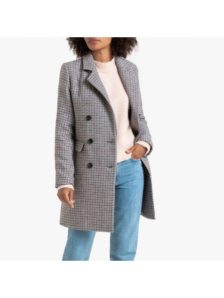 Пальто в клетку шерстяное La Redoute