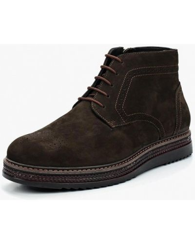 Ботинки осенние из нубука коричневый Bekerandmiller