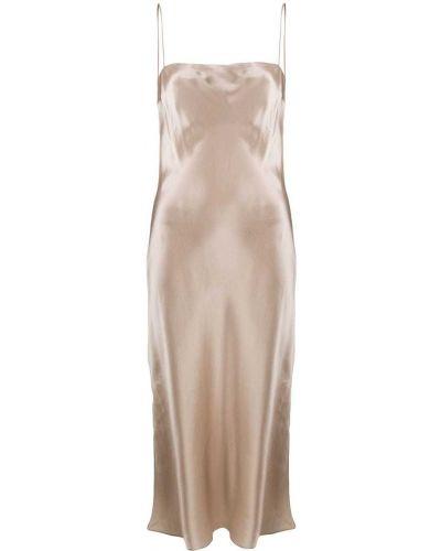 Расклешенное шелковое платье миди с открытой спиной Le Kasha