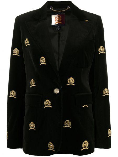 Однобортный черный пиджак с карманами с заплатками Hilfiger Collection