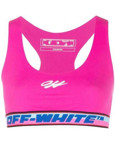 Biały biustonosz sportowy z printem Off-white