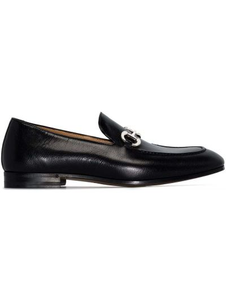 Czarne loafers skorzane na niskim obcasie Gucci