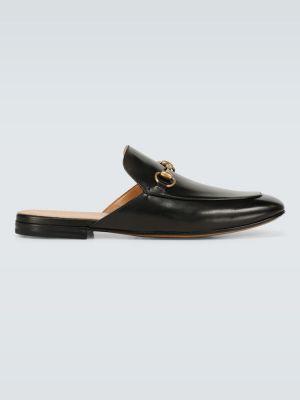 Черные мягкие кожаные тапочки Gucci