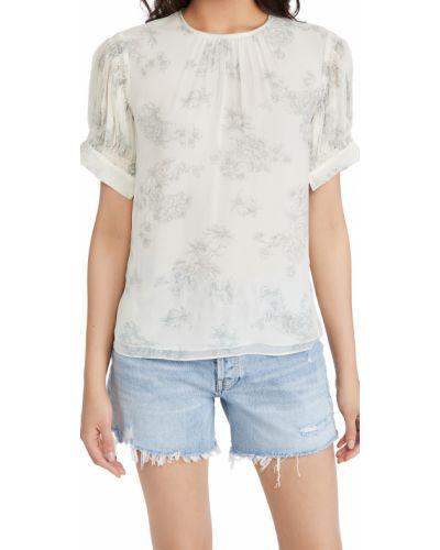 Шелковая блузка с декольте с короткими рукавами Rebecca Taylor