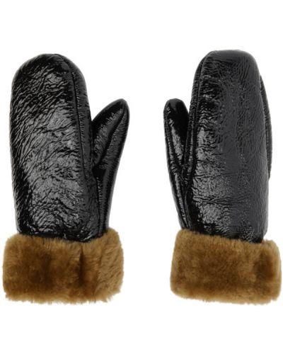 Wełniany czarny rękawiczki prążkowany z mankietami Yves Salomon