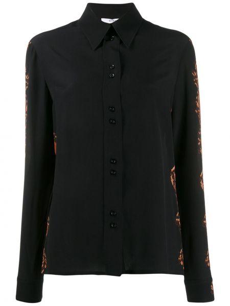 Czarna koszula z długimi rękawami z jedwabiu Givenchy