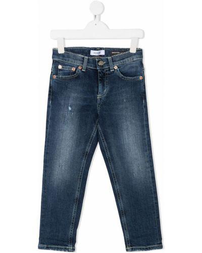 Хлопковые классические синие джинсы-скинни на молнии Dondup Kids