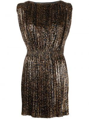 Платье леопардовое плиссированное Saint Laurent