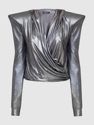 Серебряная блузка Balmain