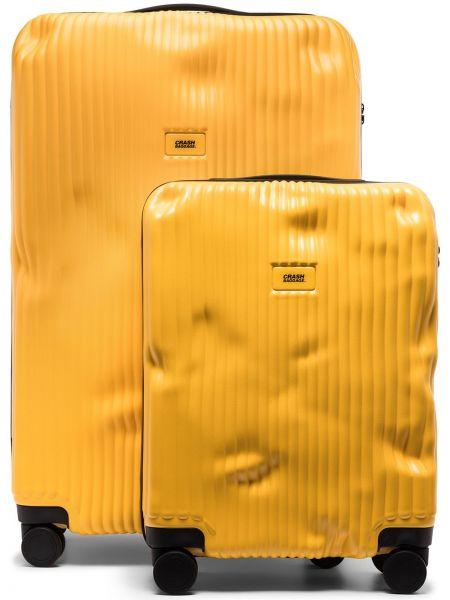 Желтый чемодан с нашивками двусторонний Crash Baggage