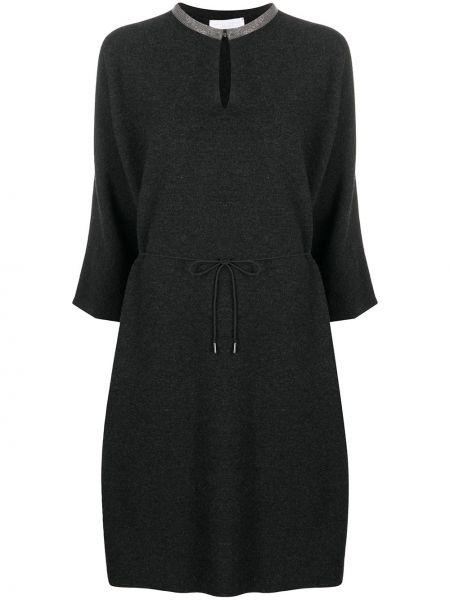 Серое шелковое платье миди с вырезом Fabiana Filippi