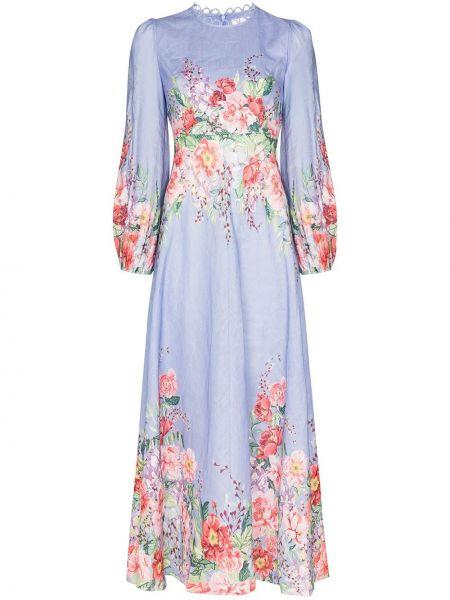 Платье макси синее длинное Zimmermann