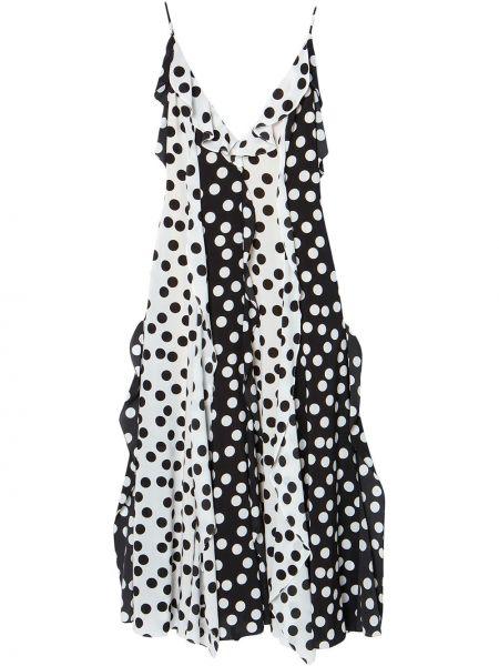 Черное платье миди в горошек с оборками Carolina Herrera