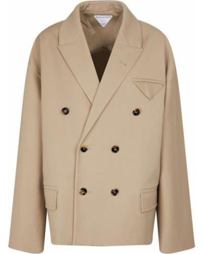 Ватный хлопковый бежевый пиджак Bottega Veneta