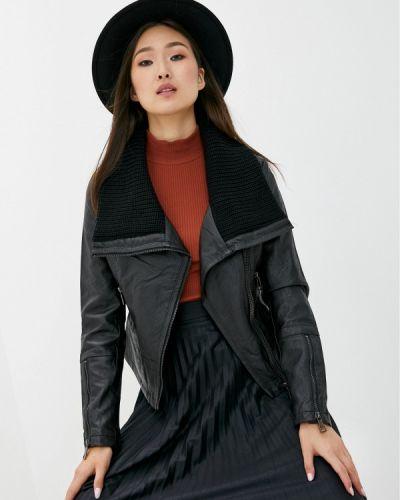 Кожаная черная кожаная куртка B.style
