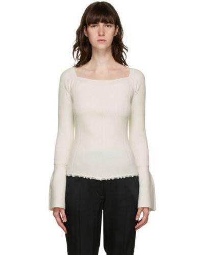 Шерстяной белый длинный свитер с воротником с длинными рукавами 3.1 Phillip Lim