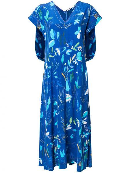 Шелковое платье мини - синее Agnona