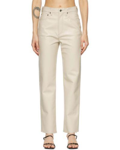 Skórzany spodni spodnie z paskiem Agolde