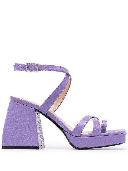 Фиолетовые кожаные сандалии на каблуке Nodaleto
