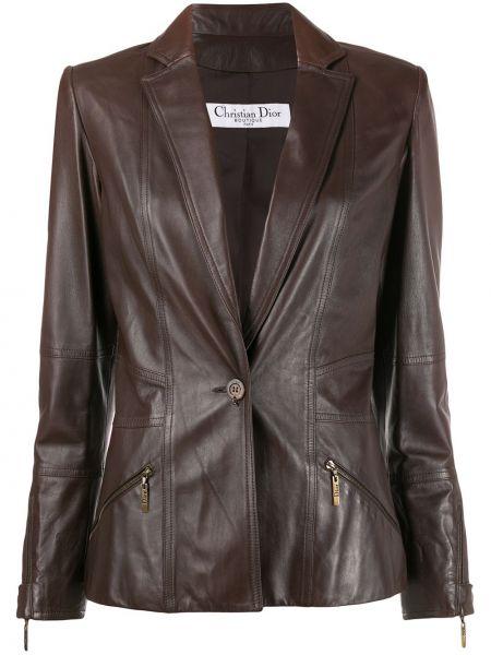 Коричневая длинная куртка для полных с подкладкой Christian Dior Pre-owned