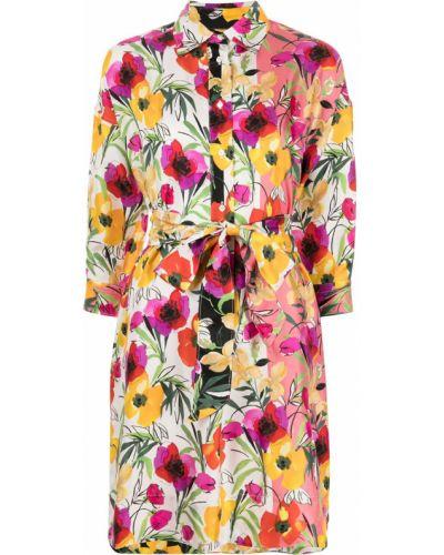 Шелковое платье мини в цветочный принт с завязками Sara Roka