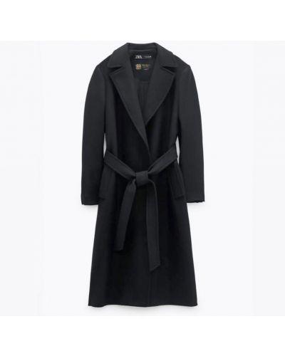Шерстяное пальто - черное Zara