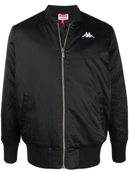 Приталенная черная длинная куртка с манжетами с карманами Kappa