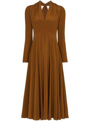 Коричневое расклешенное платье миди с длинными рукавами с V-образным вырезом Victoria Beckham