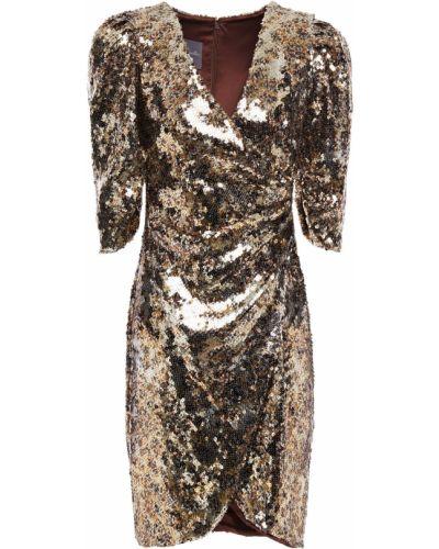 Шелковое платье мини - золотое Monique Lhuillier