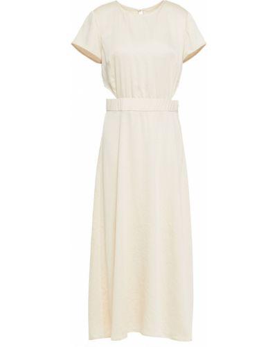 Сатиновое бежевое платье миди с вырезом Ba&sh