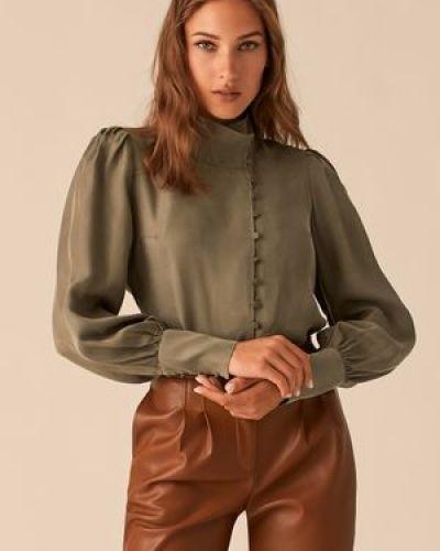 Зеленая блузка с воротником из вискозы Love Republic