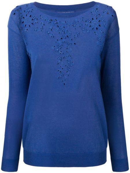 Синий свитер в рубчик с вышивкой Ermanno Scervino