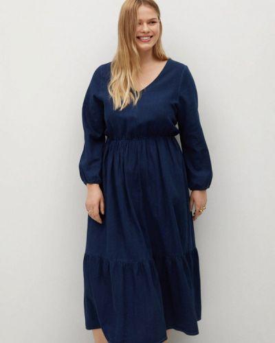 Прямое синее платье А-силуэта Violeta By Mango