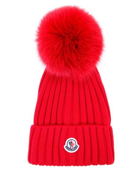 Красная шерстяная шапка бини с помпоном с отворотом Moncler