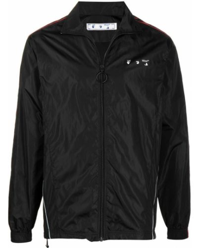 Z rękawami czarny długa kurtka z paskami Off-white