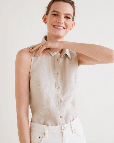Блузка без рукавов индийский бежевый Mango