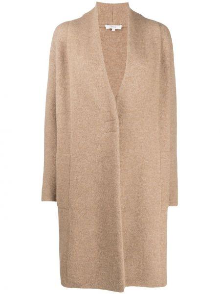 Свободная коричневая длинная куртка из альпаки Vince