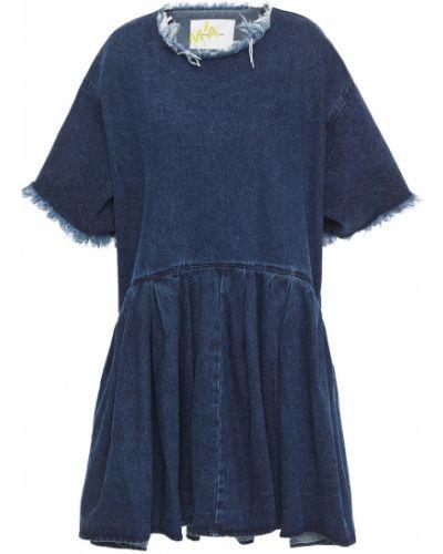 Niebieska sukienka jeansowa bawełniana Marques Almeida