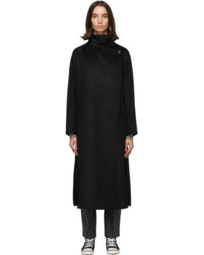 Czarny wełniany długi płaszcz z kołnierzem z kieszeniami Isabel Marant