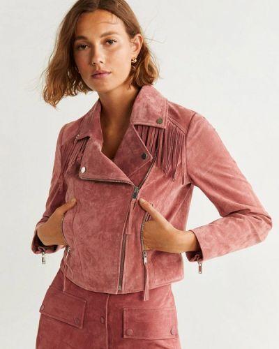 Кожаная куртка осенняя розовая Mango