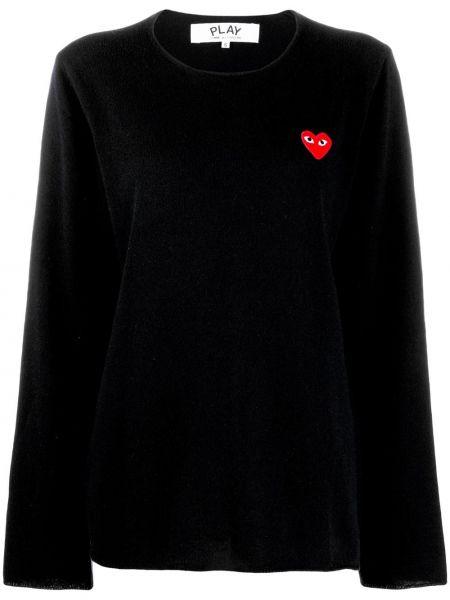 Czarny sweter z długimi rękawami okrągły okrągły dekolt Comme Des Garcons Play