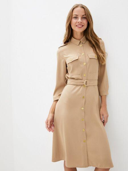 Платье платье-рубашка бежевое United Colors Of Benetton