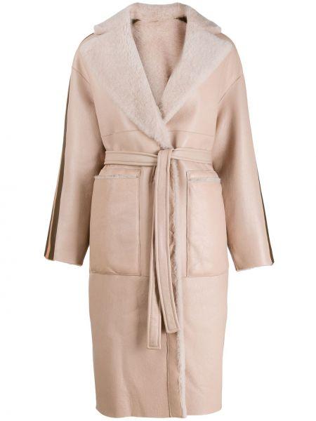 Розовое кожаное длинное пальто с капюшоном Blancha