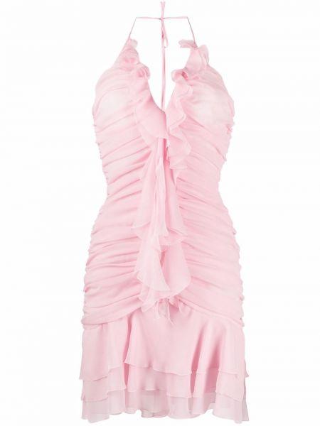 Розовое шелковое платье мини с вырезом Blumarine