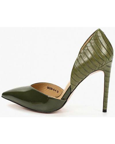 Туфли на каблуке кожаные зеленый O`shade