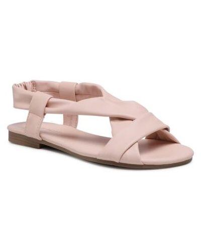 Różowe sandały płaska podeszwa w paski Ccc