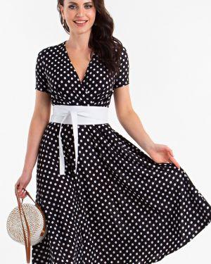 Платье с поясом в горошек с запахом Lady Taiga