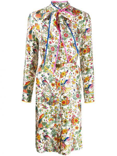 Облегающее платье на пуговицах с цветочным принтом Tory Burch