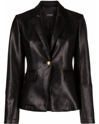 Кожаный черный удлиненный пиджак с длинными рукавами Pinko