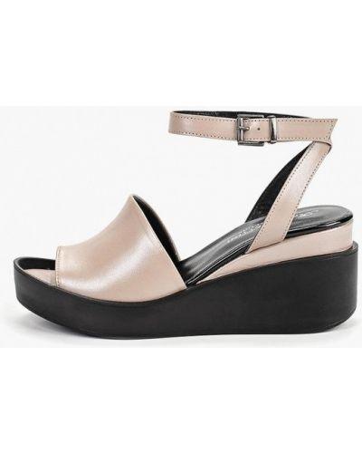 Босоножки на каблуке кожаные бежевые Ms Lorettini